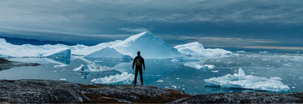 Looking over Ilulissat icebergs